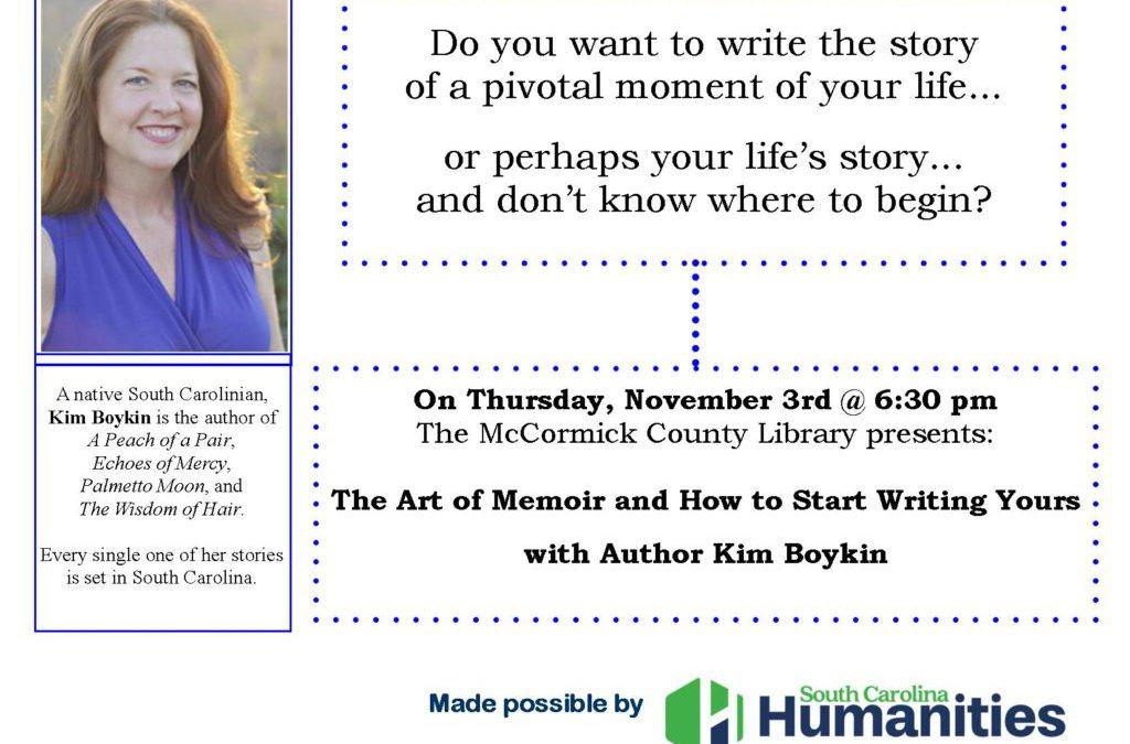 Writing Your Memoir – Nov. 3rd, 2016