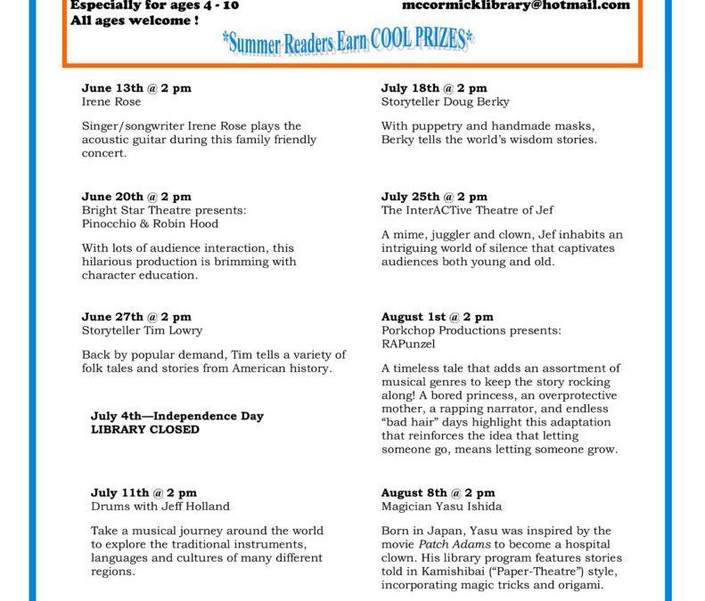 2018 Summer Reading Program Dates