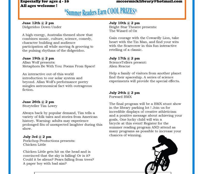 Summer Reading Program Schedule 2019