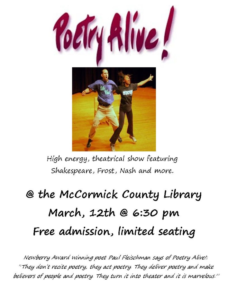 Poetry Alive flyer