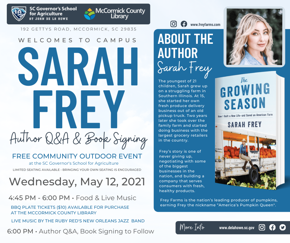 Author's Night with Sarah Frey – May 12th, 2021