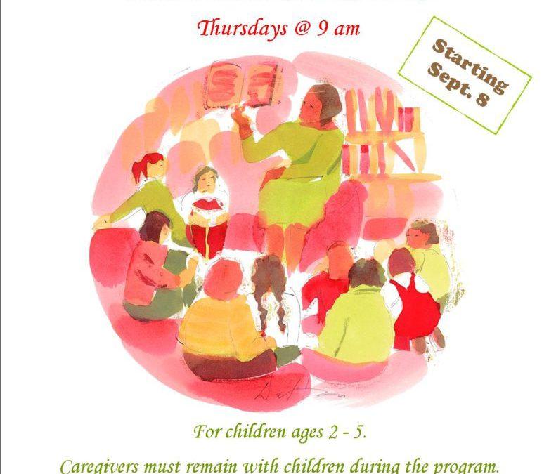 Preschool Storytimes start Sept. 8th, 2016